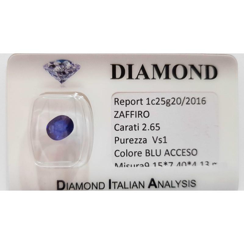 ZAFFIRO OVALE 2.65 CARATI in BLISTER CERTIFICATO