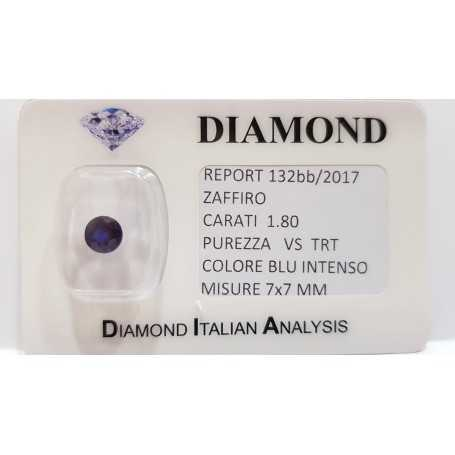 1.80 carat oval sapphire in certified BLISTER