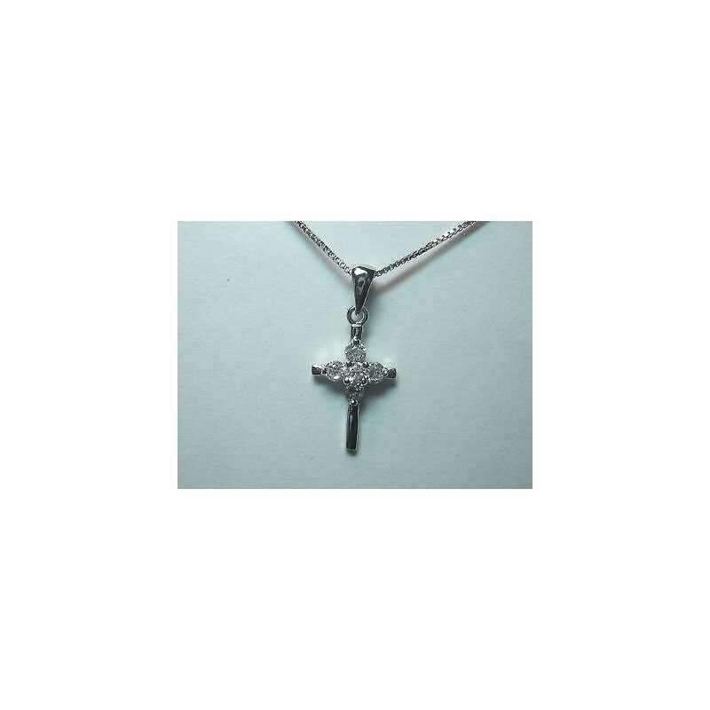 SILVER CROSS WITH BEAD CHAIN CUBIC ZIRCONIA AS DIAMONDS