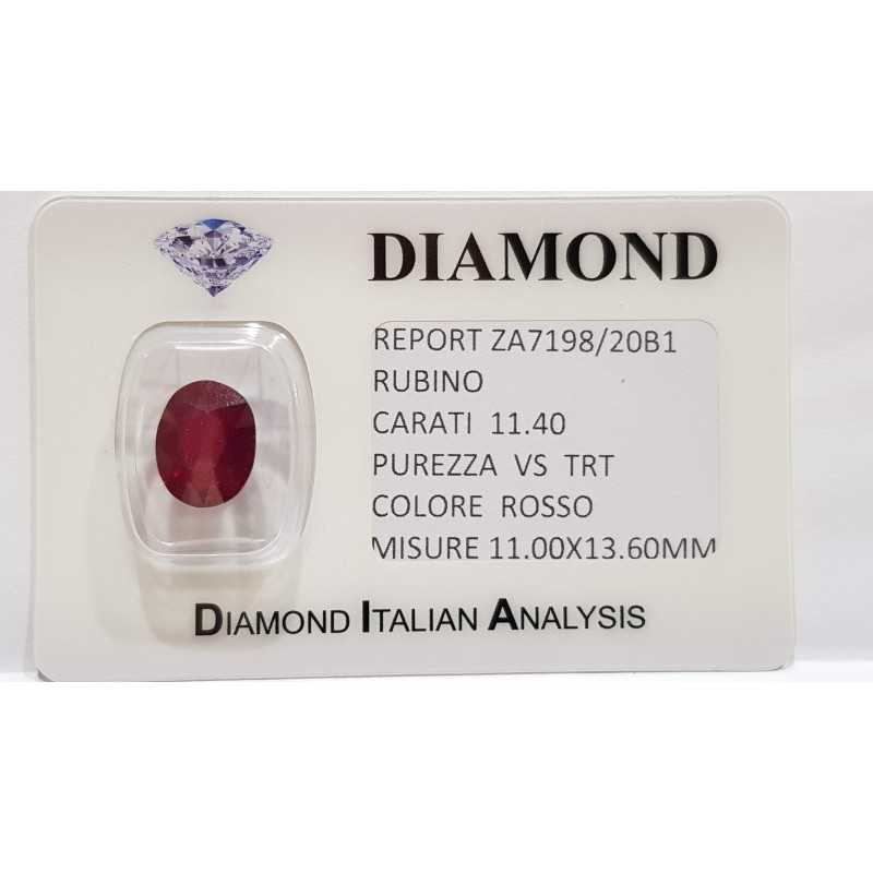 RUBY OVAL 11.40 CARAT in BLISTER CERTIFICATE