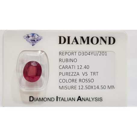 Ruby Oval 12.40 carats in certified BLISTER