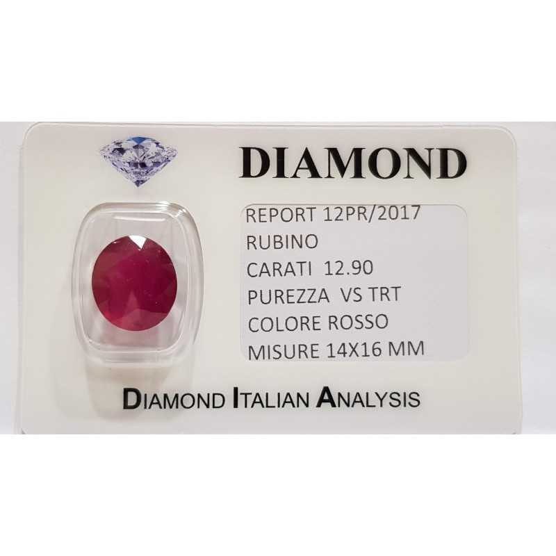 RUBY OVAL 12.90 CARATS in BLISTER CERTIFICATE