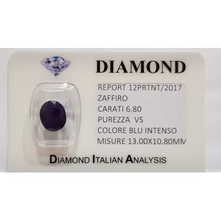 6.80 carat oval sapphire in certified BLISTER
