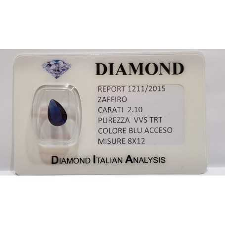 Sapphire drop 2.10 carats in certified BLISTER