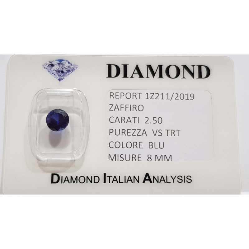 BLUE SAPPHIRE ROUND 2.50 CARAT in BLISTER CERTIFICATE