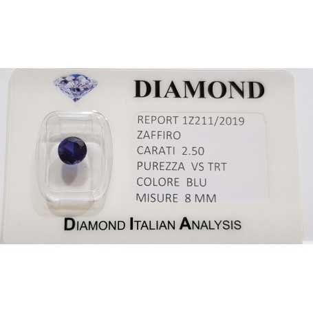 Blue sapphire round 2.50 carats in certified BLISTER