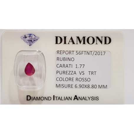 Ruby drop 1.77 carats in certified BLISTER