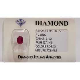 RUBY OVAL 3.10-CARAT in BLISTER CERTIFICATE