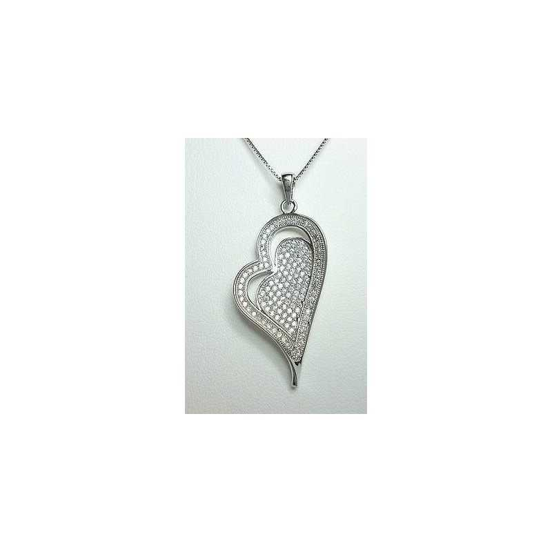 HEART PENDANT SILVER RHODIUM-PLATED GOLD DIAMOND LABORATORY HIGH MANUFACTURING