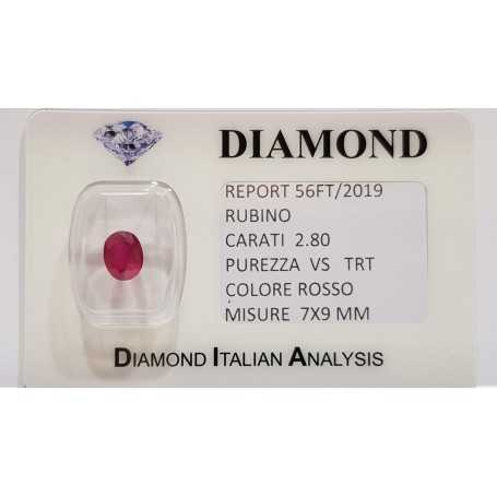 Ruby Oval 2.80 carats in certified BLISTER