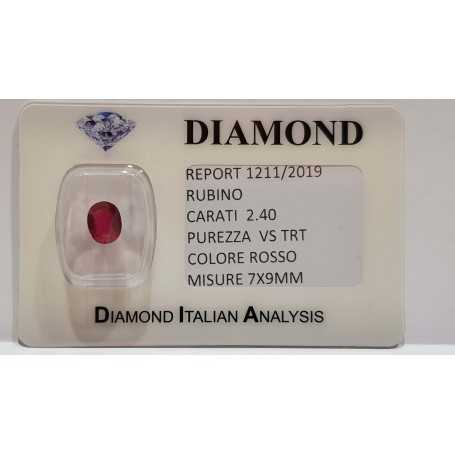 Ruby Oval 2.40 carats in certified BLISTER
