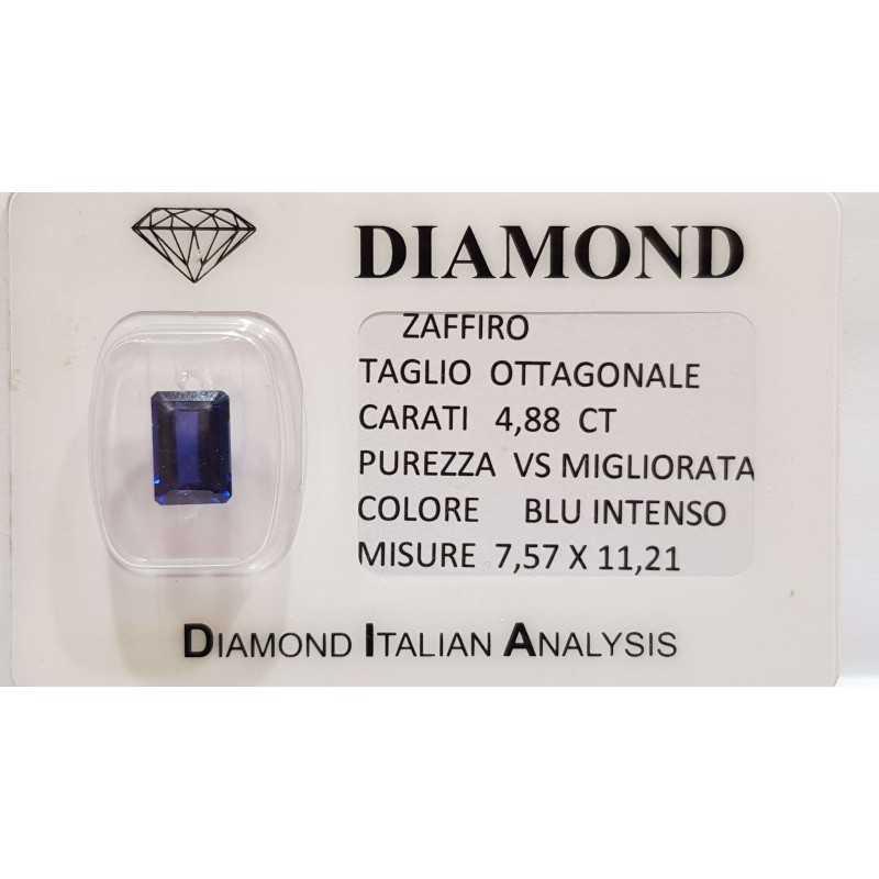 ZAFFIRO OTTAGONALE 4.88 CARATI in BLISTER CERTIFICATO