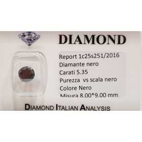 DIAMANTE NERO OVALE 5.35 CARATI QUALITA' SUPERIORE BRILLANTISSIMO