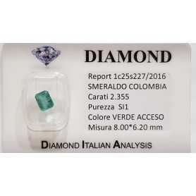 EMERALD OVAL 2.35 CT SI1 CERTIFIED in BLISTER
