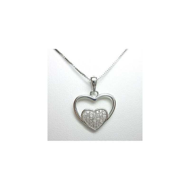 PENDANT in SILVER RHODIUM-plated GOLD DIAMOND cubic ZIRCONIA VERSION of the PENDANT