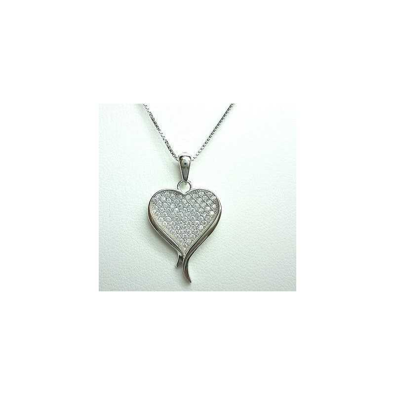 PENDANT in RHODIUM-plated SILVER with DIAMONDS, LAB ITALIAN MANUFACTURE