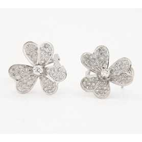 Earrings 18kt White gold with DIAMONDS, 0.75 ct Total - Model (MARGHERITA)