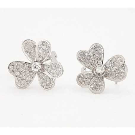 18kt white gold earrings with diamonds 0.75 ct total-model (Daisy)