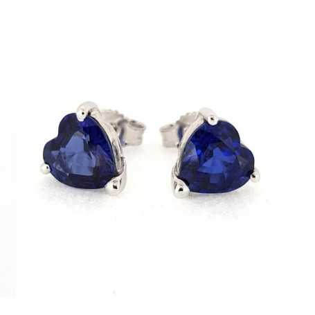Earrings white gold 18kt sapphires 4.04 ct total-Model (hearts)