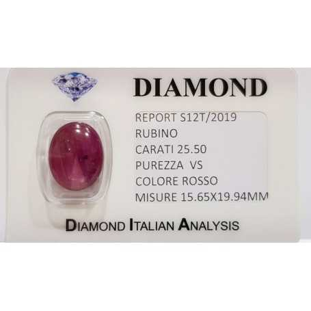 Red Starry Ruby 25.50 carats in certified BLISTER
