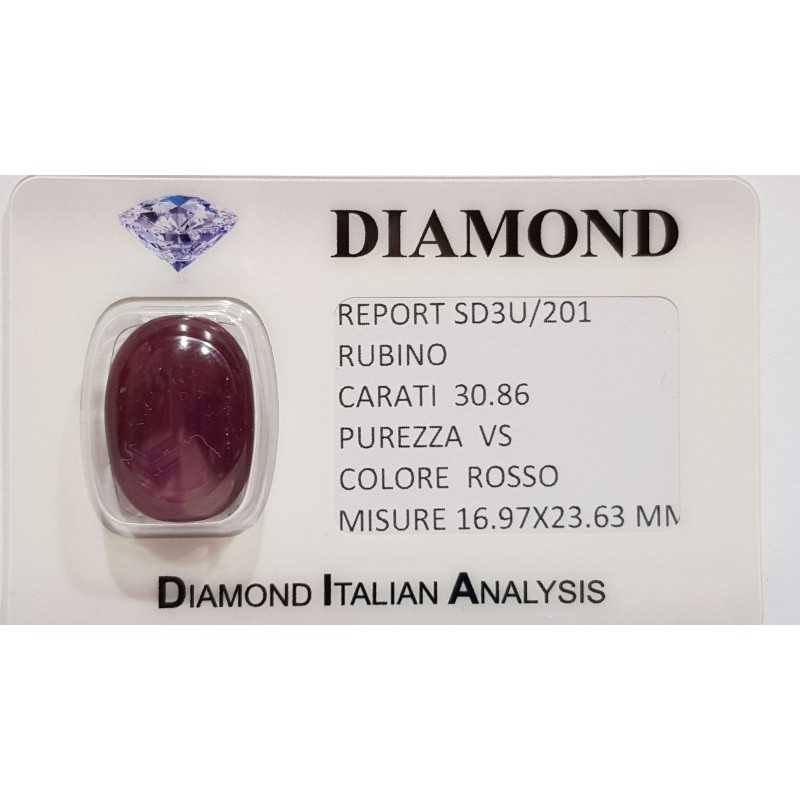 Star RUBY RED 30.86 CARATS in BLISTER CERTIFICATE