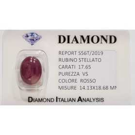 Star RUBY RED, 17.65 CARAT in BLISTER CERTIFICATE