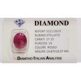 Star RUBY RED 17.15 CARAT in BLISTER CERTIFICATE