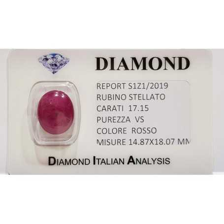 Ruby Red Star 17.15 carats in certified BLISTER