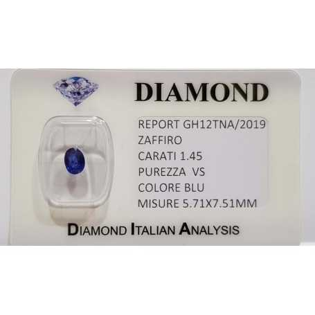 1.45 carat oval sapphire in certified BLISTER