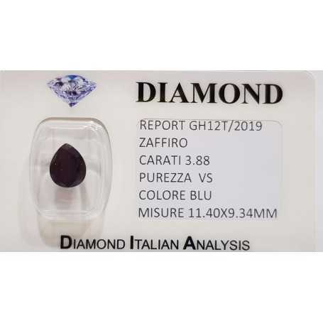 Sapphire drop 3.88 carats in certified BLISTER