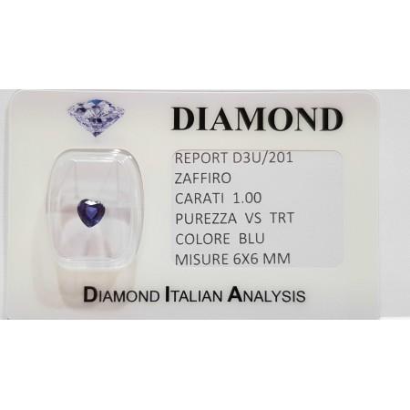 Sapphire heart cut 1.00 carats in certified BLISTER