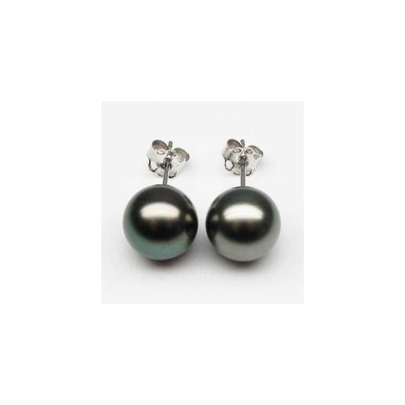BOUCLES d'oreilles PERLES de TAHITI AAA 10.00 mm, 3.51 g Monture en OR 18 carats