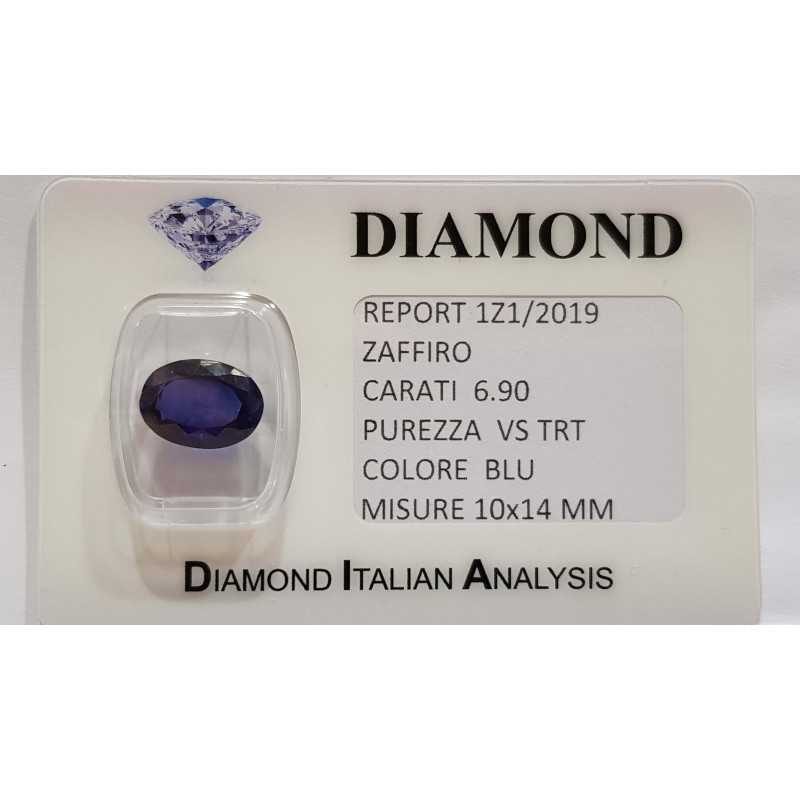 OVAL CUT SAPPHIRE 6.90 CT BLISTER CERTIFICATE