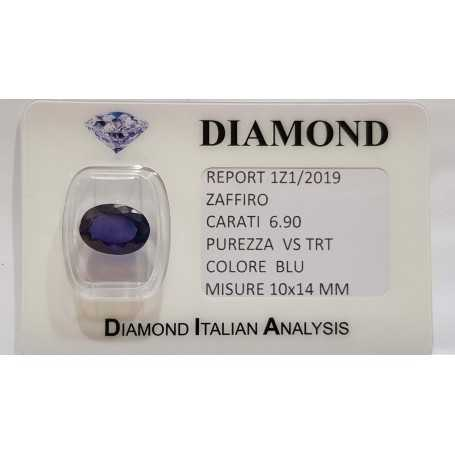 Sapphire oval cut 6.90 carats in certified BLISTER