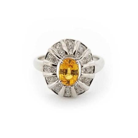 Anello oro Bianco 18kt con DIAMANTI e ZAFFIRO 1.68 ct Totali - Modello (MERCOLEDI)