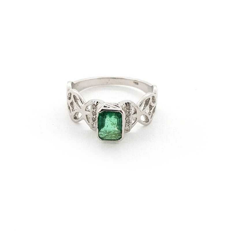 Ring 18kt White gold with DIAMONDS and EMERALD 0.77 ct Total - Model (MONDAY)