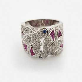 Ring 18kt White gold with DIAMONDS, RUBIES and SAPPHIRES 2.85 ct Total - Model (GIORGIA)
