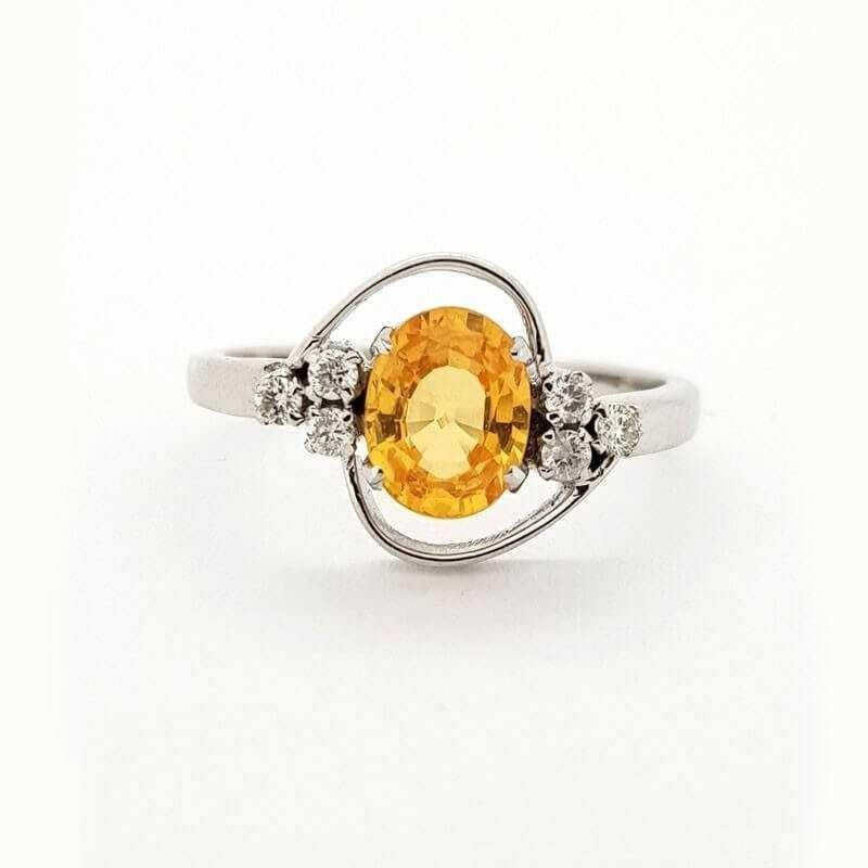 Bague en or Blanc 18 carats avec DIAMANTS et SAPHIR 1.33 ct Total - Modèle (ELEONORA)