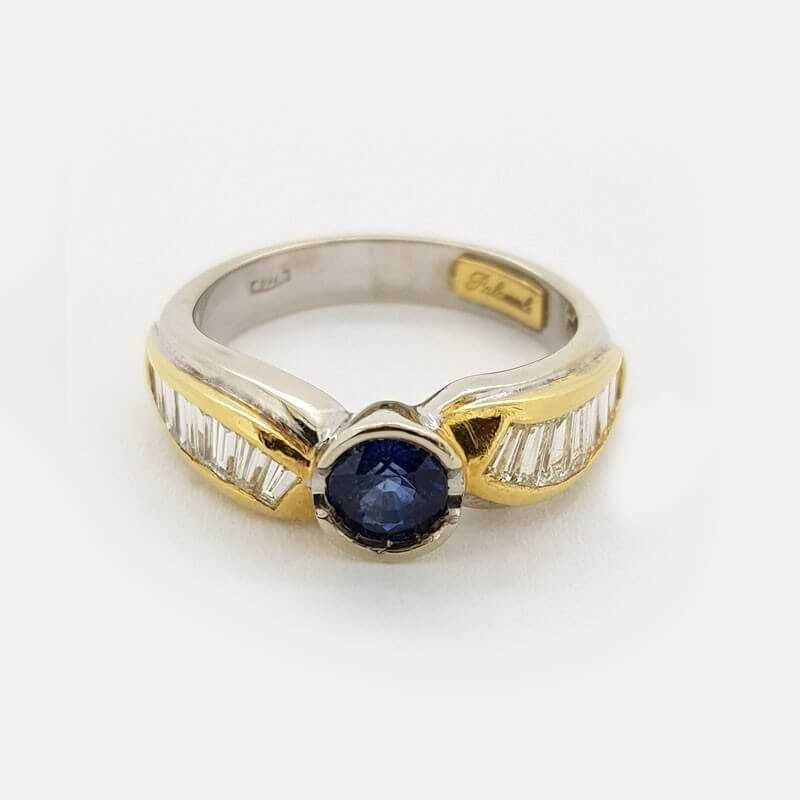Ring 18kt gold with DIAMONDS and SAPPHIRE, 1.15 ct Total - Model (FABIANA)
