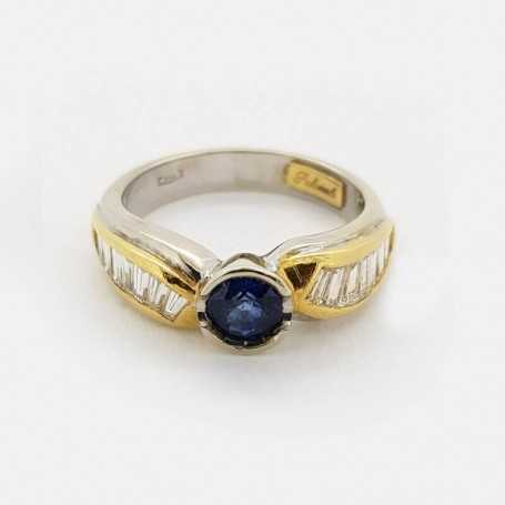 18kt gold ring with total 1.15 ct sapphire and diamonds-model (FABIANA)
