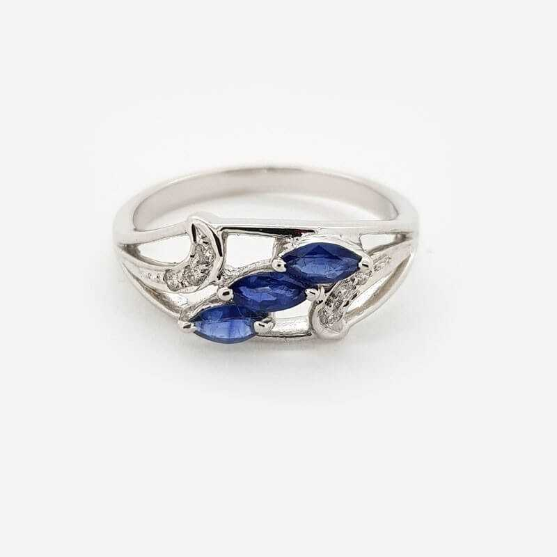 Ring 18kt gold with DIAMONDS and SAPPHIRES 0.61 ct Total - Model (CLEAR)