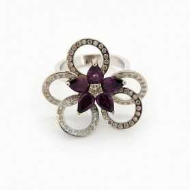 Ring 18kt White gold with DIAMONDS and AMETHYST 1.40 ct Total - Model (AGNES)