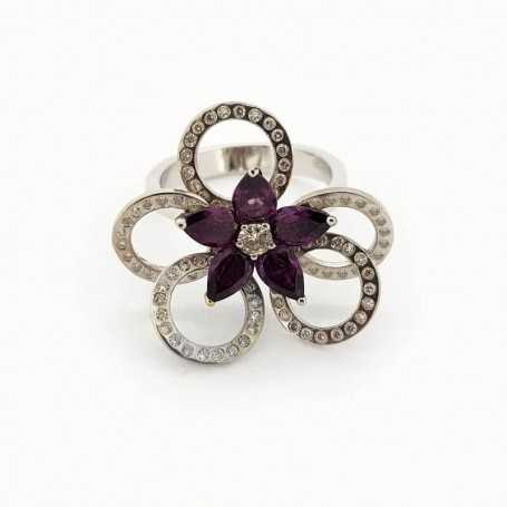 18kt white gold ring with diamonds and amethyst 1.40 ct total-Model (AGNESE)