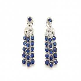 Earrings 18kt White gold with DIAMONDS and SAPPHIRES 11.55 ct Total - Model (SNOW)