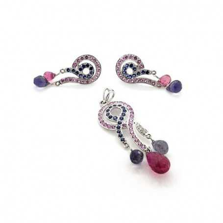 Earrings and pendant with diamonds, sapphires and rubies 14.55 ct total-model (STELLA)