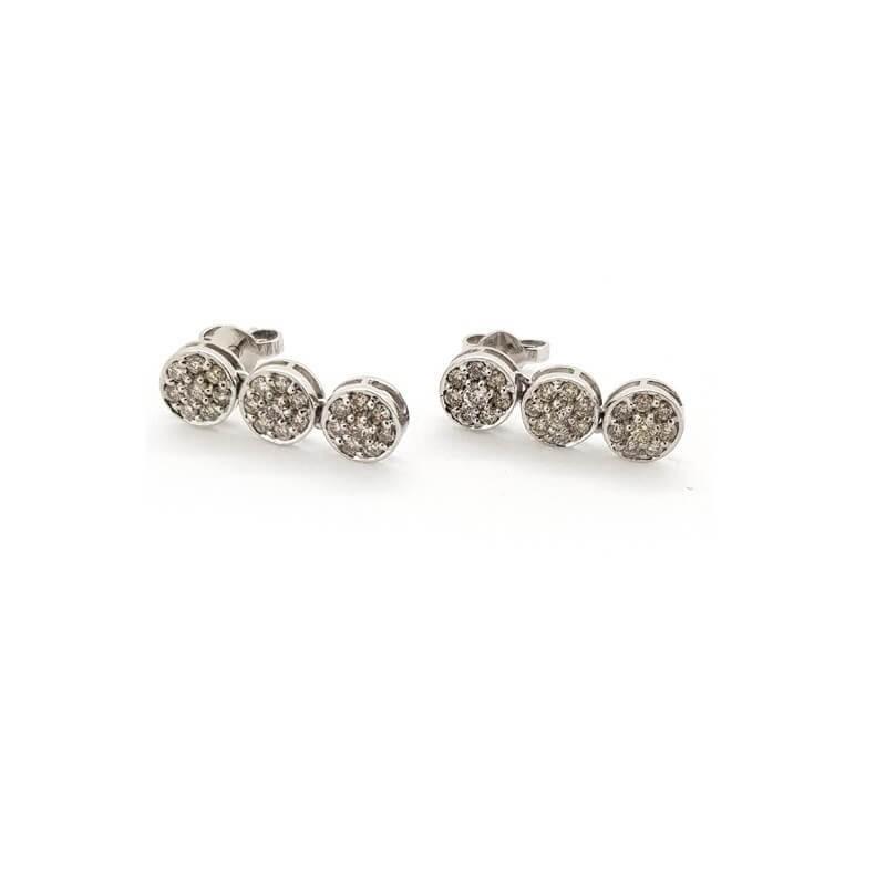 Boucles d'oreilles en or Blanc 18 carats avec des DIAMANTS de 0,96 ct Total - Modèle (KIRA)