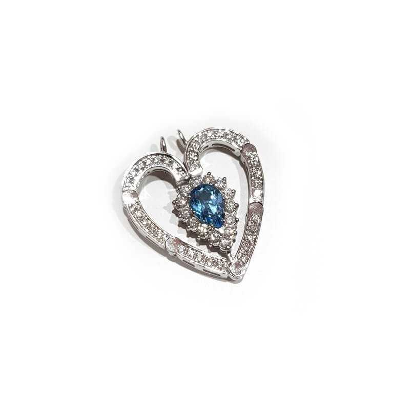 Pendant in 18kt White gold with DIAMONDS and TOPAZ 6.80 ct Total - Model (DARLA)