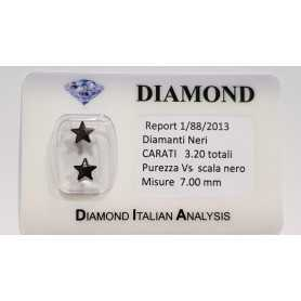 COUPLE BLACK DIAMONDS STAR 3.20 CARATS TOTAL in BLISTER CERTIFICATE