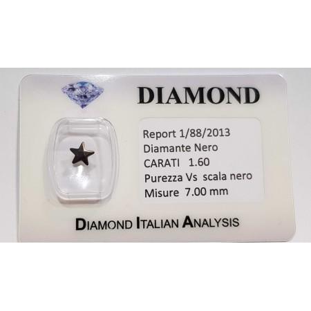 Black Diamond Star 1.60 carats in certified BLISTER