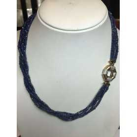 NECKLACE of SAPPHIRES CLOSURE with GOLD 18 KT and DIAMATI - 50 cm
